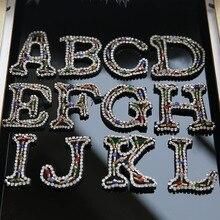 все цены на 26 English Letter alphabet Rhinestones beads patches applique sew on beading applique clothes shoes bags decoration patch DIY онлайн
