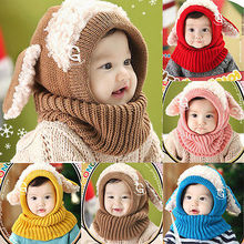 Baby Girls Boys Winter Warm Knitted Hat Hooded Scarf