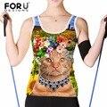 FORUDESIGNS Cute Women Cat Tank Tops 3D Animal Womens Crop Top Tees Casual Slim Vest Sleeveless Garment Plus Size XXL haut femme