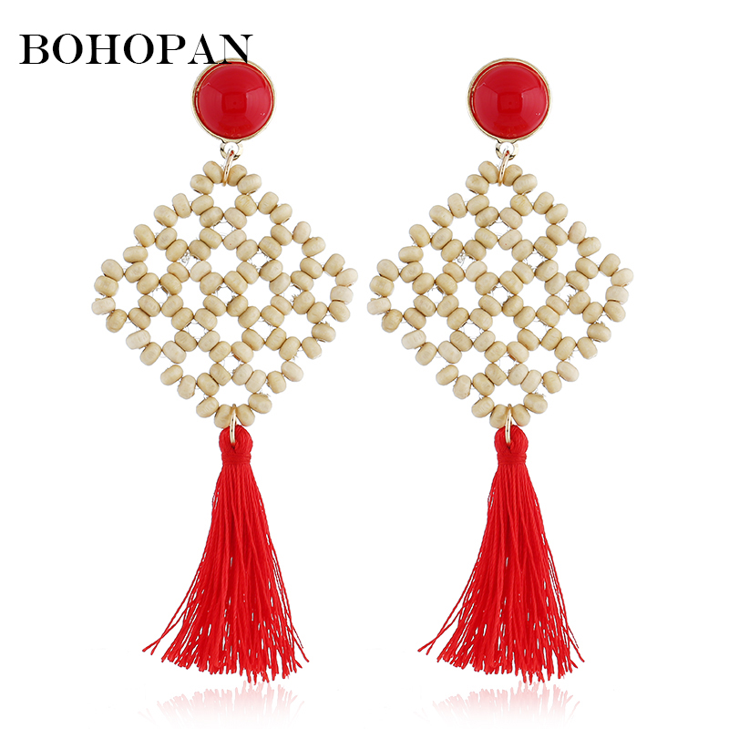 Bohopan 2019 Chinese Style Wood Long Drop Earrings Ethnic Weave Jewelry Handmade Beads Dangle Statement Charming Bijoux