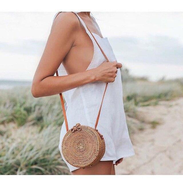 Vintage Handmade Women Rattan Bag Straw Woven Shoulder Bags Bow Holiday Beach Bohemia Crossbody Messengers Handbag round bolsa 5