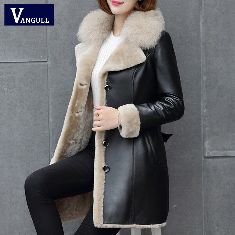 Vangull Medium Style Fur Collar   Leather   Coat Thick 2019 New Winter Warm Jacket Women PU   Leather   Coat Female Overcoat Plus Size