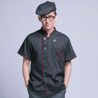 Summer Kitchen Black Chef Jacket Uniforms Short Sleeve Hotel Cook Clothes Food Services Frock Coats Work