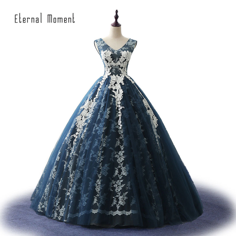 New Arrival Navy Blue V Neck Lace Ball Gown Amazing