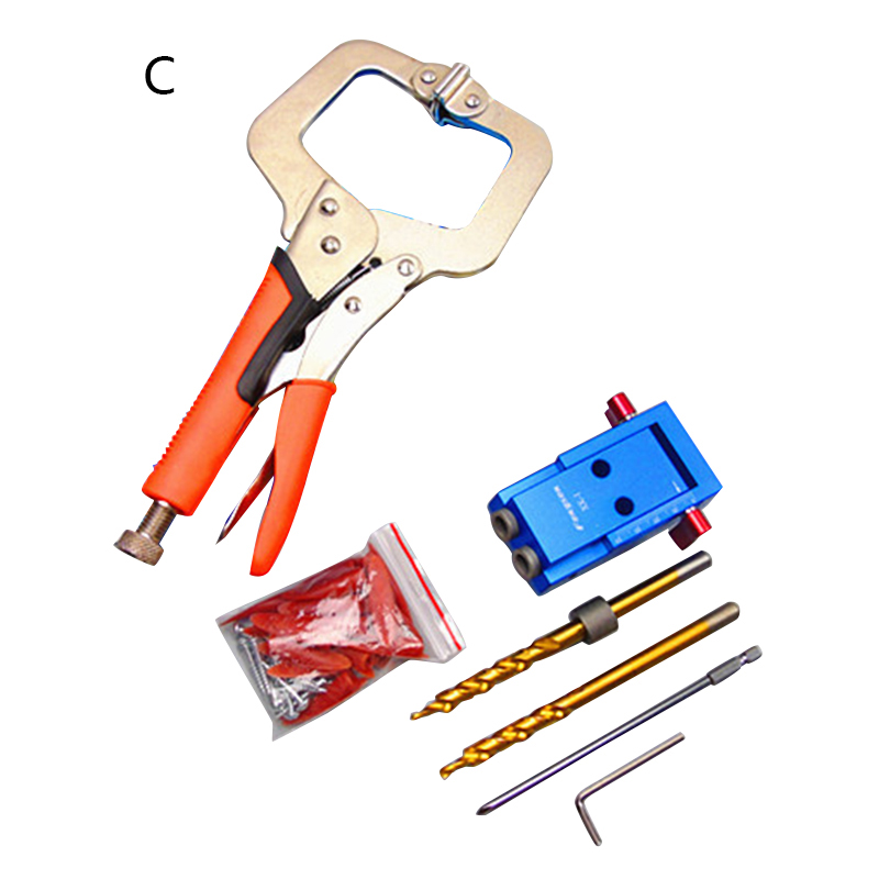 Mini Style Pocket Hole Jig Kit System For Wood Working & Joinery + Step Drill Bit & Accessories Wood Work Tool Set Supplies T0.2 woodworking tool pocket hole jig woodwork guide repair carpenter kit system with toggle clamp and step drilling bit k527