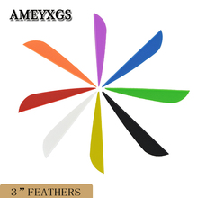50pcs Archery 3inch Arrow Feathers Compound Recurve Bow Accessories Shaft DIY Drop-shaped Rubber Shooting Sports