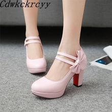 Женские туфли на высоком каблуке вечерние круглым носком и бантом