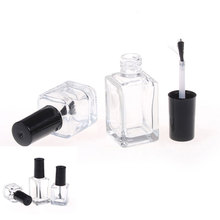 1pc 5ml/10ml/15ml Transparent Glass Nail Polish Bottle Empty With Lid Brush Cosmetic Containers Nail Glass Bottles with Brush