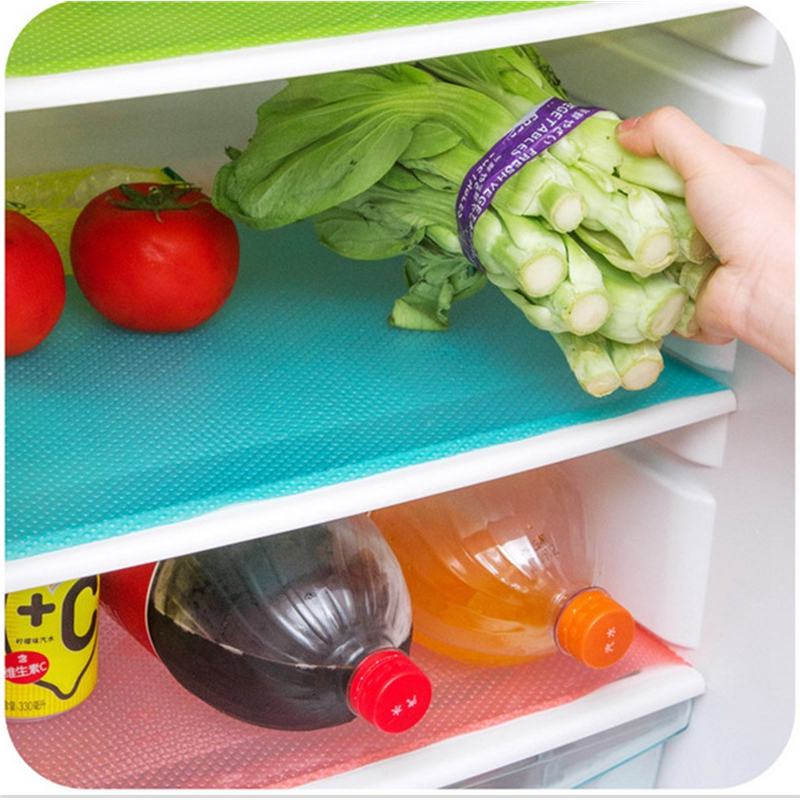 Image 2 - 4pcs/set Refrigerator Cabinet Pad Antibacterial Antifouling  Mildew Moisture Tailorable Pad Refrigerator Mats Fridge WaterproofMats