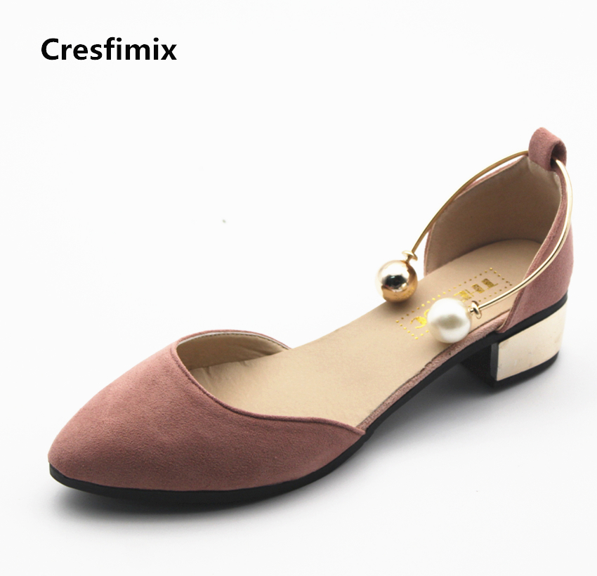 Cresfimix sapatos femininos women casual spring summer slip on high heels lady sexy pearl female high heel party shoes