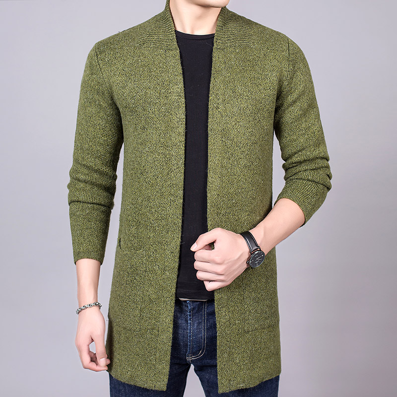 2018 Autumn Winter New Long Style Men's Cardigan Coat Slim Fit Knitted Mens Sweater Solid Pocket Casual Cardigan Male