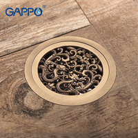 GAPPO Drains Bathroom Shower Drains Shower Floor Cover Antique Brass Shower Drain Strainer Drain Stopper