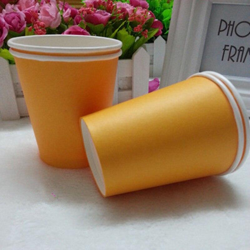 50pcs 7oz <font><b>Orange</b></font> Disposable Paper <font><b>Cups</b></font> Wedding Birthday <font><b>Party</b></font> Decoration