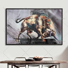 Top Artist Team Supply High Quality Modern Abstract Bull Fighting Oil Painting On Canvas fight