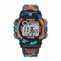 honhx многофункциональный детское цифровые часы мальчиков девочка резиновая спортивные электронные детские наручные часы светодио дный дата часы релох # зер