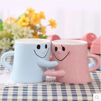 New Arrival A Pair Of Individualized Creative Hugs Cups Ceramic Couple Cups 2 Pieces Blue Pink