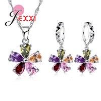 JEXXI 925 Sterling Silver Colorful Cubic Zircon Pendant Necklace Earrings Set For Women Fashion Flower Bridal