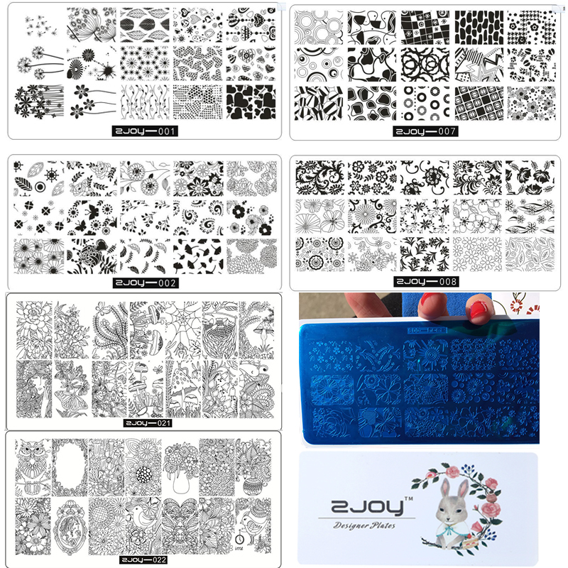 zjoy 1pc 30Style Choice Nail Stamping Plate Lace Flower-Dandelion Art Image For Manicure 2018