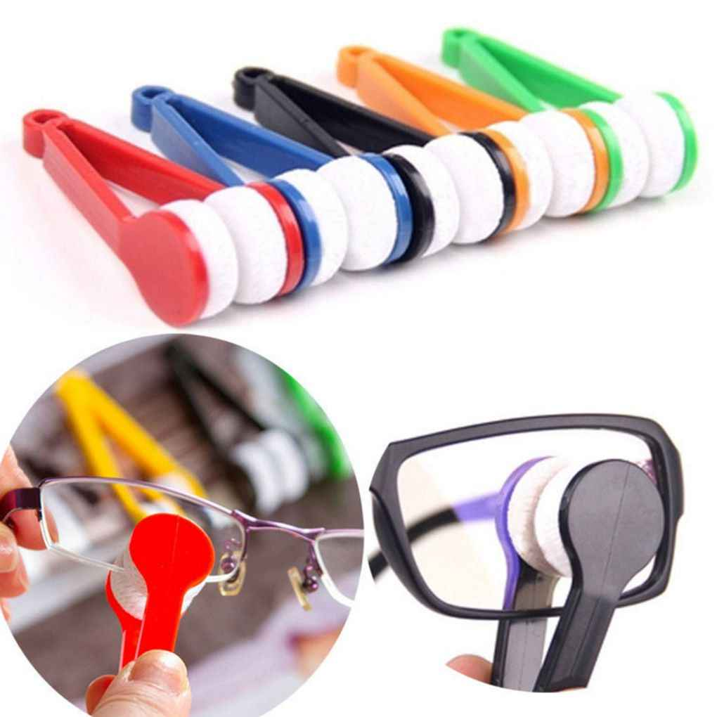 Two-side Glasses Brush Microfiber Spectacles Cleaner Glasses Cleaning Rub Cleaner Color Random