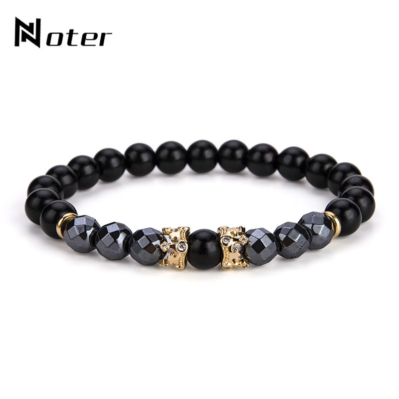 Noter New Design Double Cute Crown Men Bracelet Charm Obsidian Hematite Braclets For Male Yoga Biker Jewelry Pulseira Homme ...