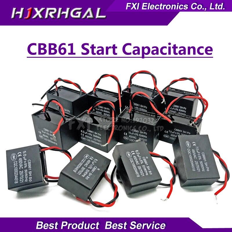1 pz CBB61 di partenza capacità AC Condensatore della Ventola 450 v CBB Motore hjxrhgal Run Condensatore 1 uf 1.2 uf 1.5 uf 2 uf 2.5 uf 3 uf 3.5 uf 4 uf