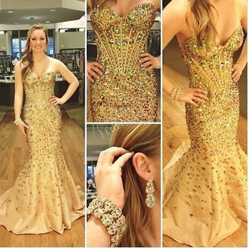 4dbbefb78407 Luxury Gold Crystal Mermaid Prom Gown Off Shoulder Sweetheart Shiny  Rhinestone Women Pageant Wedding Party Dress Custom Made -in Bridesmaid  Dresses from ...