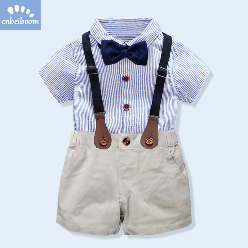 kids boys clothing set gentlemen outfits 2018 summer newborn baby boy bow tie shirt+overall short infant clothes for party wear стоимость