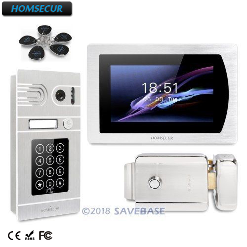 HOMSECUR 7 Wired Video Door Phone Intercom System+RFID Access for Home Security