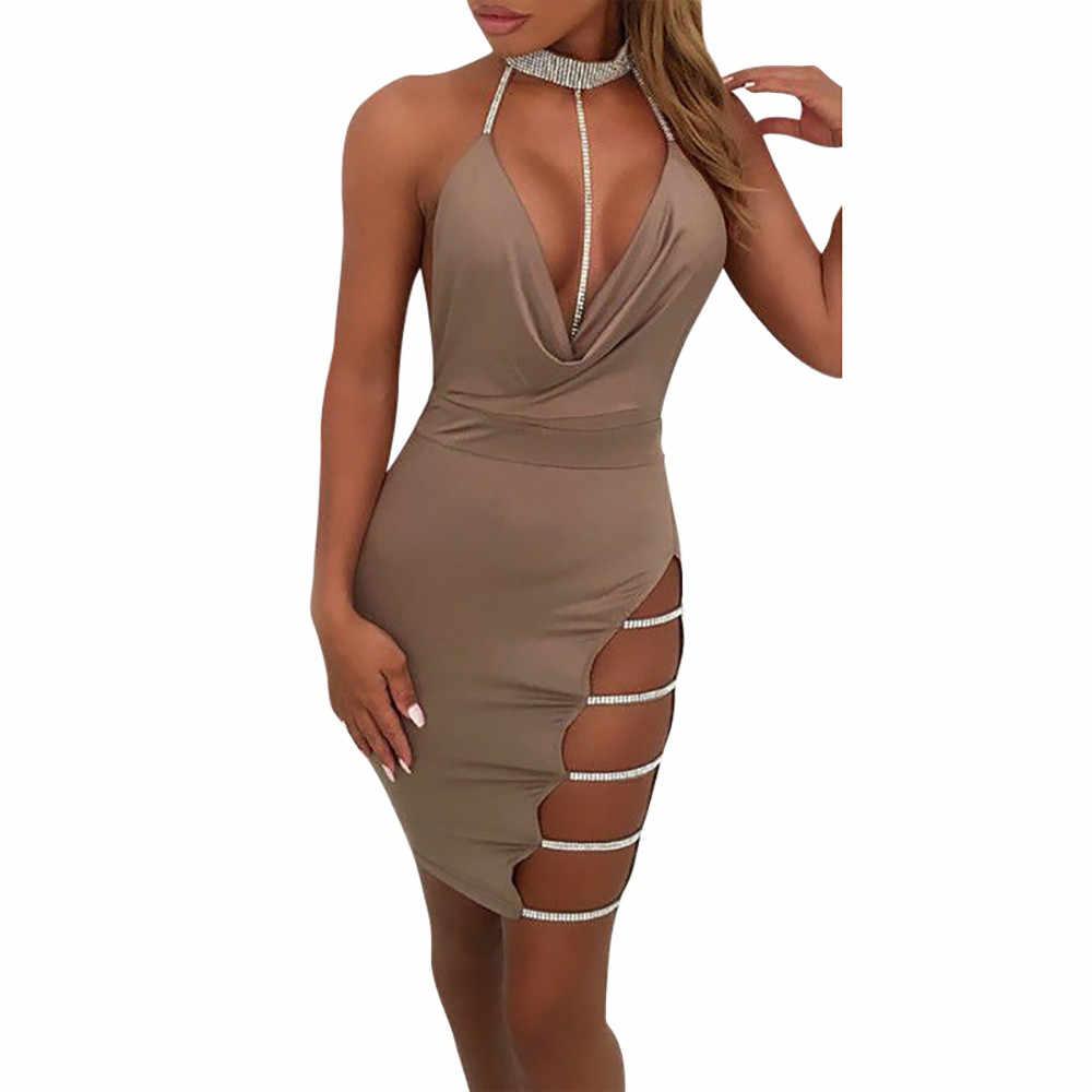 Sexy dress Women Deep V Neck Halter Backless Choker Slit hollow shiny  Sequin Bodycon slim Mini 331ce054828b