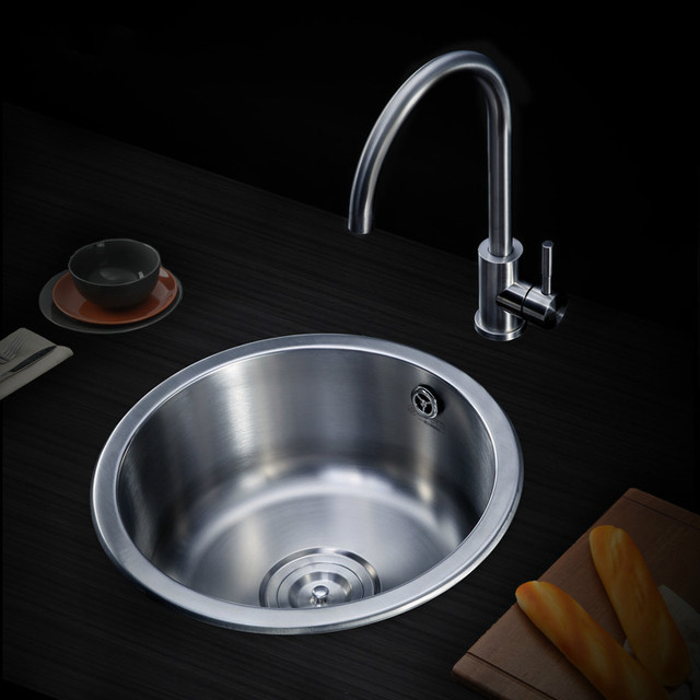 Shumete Manual Sink Single Slot Small Round Kitchen Basin Balcony 304 Stainless Steel Tea Room Bar Lu4171