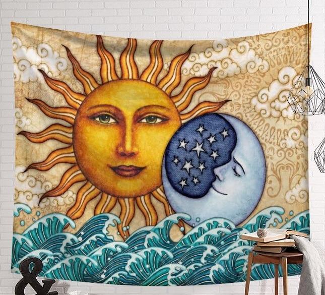 CAMMITEVER Sun Moon Mandala Tapestry Wall Hanging Tapestries Boho Bedspread Yoga Mat Blanket