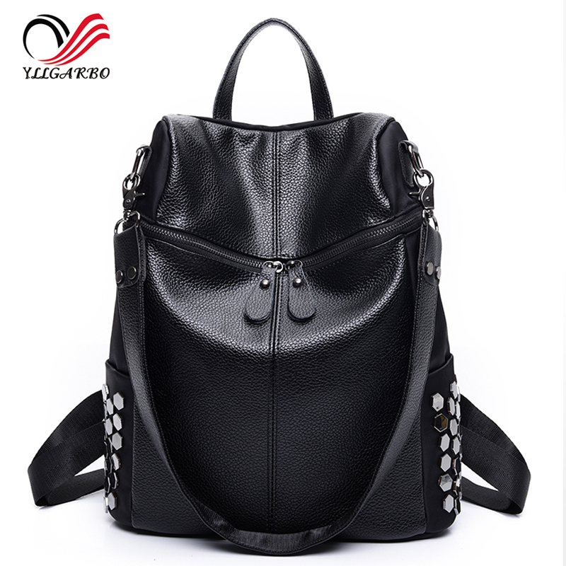 2017 New Simple Style Backpack Women PU leather Shoulder Bag For Teenage Girls Fashion Vintage Rucksack Designer Multifunction new printing pu leather backpack women shoulder rucksack university bags for teenage girls designer brand korean femme