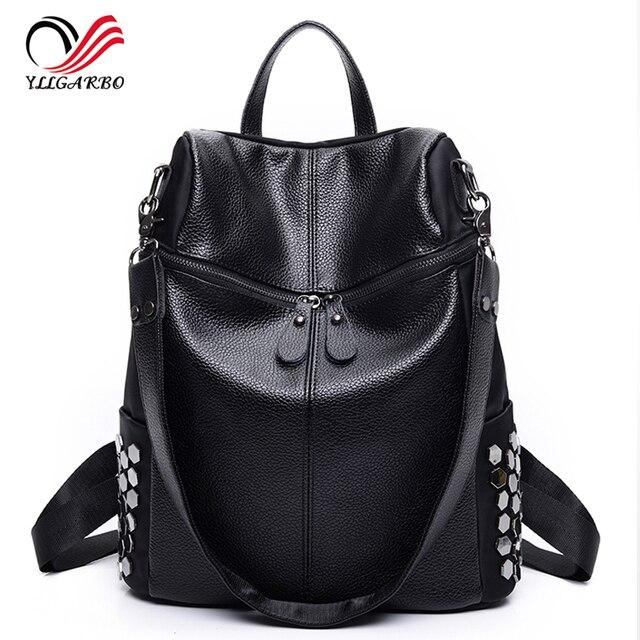 f28ea3fd2e11 2017 New Simple Style Backpack Women PU leather Shoulder Bag For Teenage  Girls Fashion Vintage Rucksack