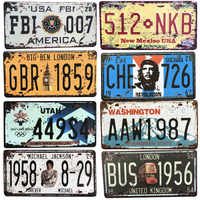 USA Vintage Metal Tin Signs Route 66 Car Number License Plate Plaque Poster Bar Club Wall Garage Home Decoration 15*30cm