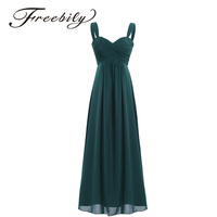 2018 Freebily 4 Colors Formal Ankle Length Summer Long Dress Sleeveless Wedding Party Sexy V Neck White Black Navy Blue Dresses