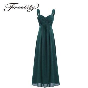 7874737a1 2018 Freebily 4 colores Formal tobillo-longitud verano vestido largo sin  mangas boda Sexy v