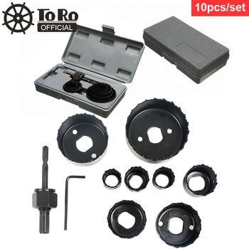 цена на TORO 10pcs/set DIY Hole Saw Bit Cutting Set Kit Wood Sheet Metal Alloys Circular Round Case Drill Bits Wood Metal Sheet Alloys