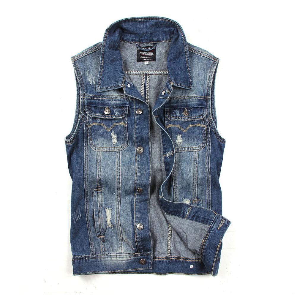 3e2a8ff5118 2016 New Style New Men Denim Vest Men Jeans Men Sleeveless Denim Jacket Men  Denim Jeans Vests Jacket Sleeveless Waistcoat XXL-in Vests   Waistcoats  from ...