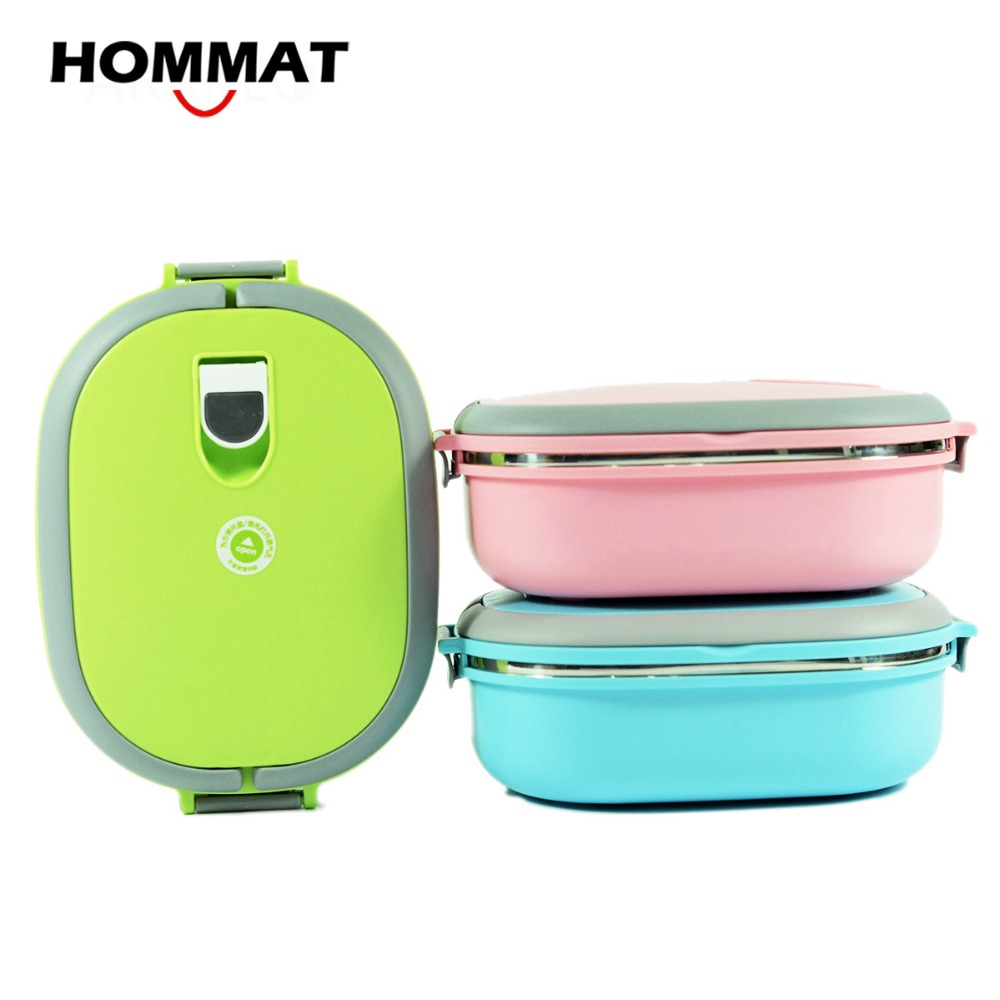 stainless steel metal bento lunch boxs for kids girls thermal food container lunchbox w handle. Black Bedroom Furniture Sets. Home Design Ideas