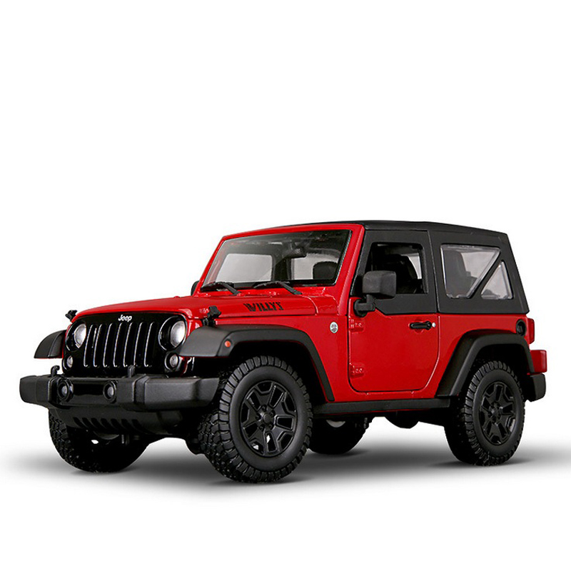 1/18 Scale Red Jeep Wrangler Willys Alloy Diecast Model Car Off-road Vehicle Model Toys For Children Gifts Collections maisto jeep wrangler rubicon fire engine 1 18 scale alloy model metal diecast car toys high quality collection kids toys gift