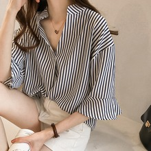 Women Fashion Blouse Ladies Striped Tops Half Flare Sleeve Loose Casual Shirts V-Neck Slim