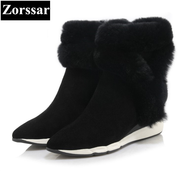 {Zorssar} 2017 NEW Classic winter Plush Women Boots Suede Ankle Snow Boots Female Warm Fur women shoes pointed Toe wedges boots designer women winter ankle boots female fur lace up snow boots suede plush sewing botas