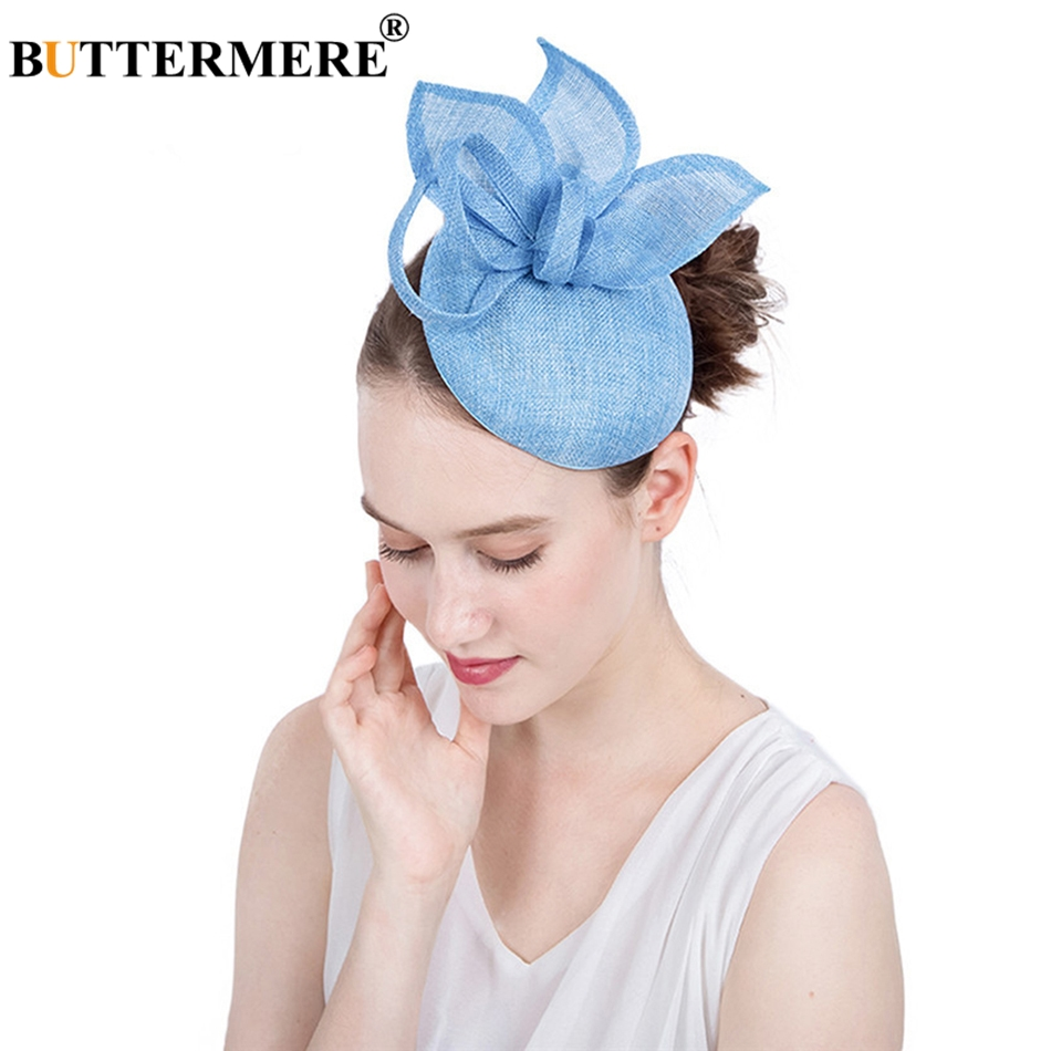 e4051a82f0103 BUTTERMERE Women Fedora Blue Linen Bride Hats Female Elegant Wedding Party  Vintage Pillbox Hat Ladies British