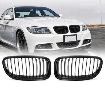 2 pièces Noir Mat Rein Avant Grilles pour BMW 09-11 E90 E91 LCI 325i 328i 335i Grille Pare-chocs avant pour Modification de Style de Voiture