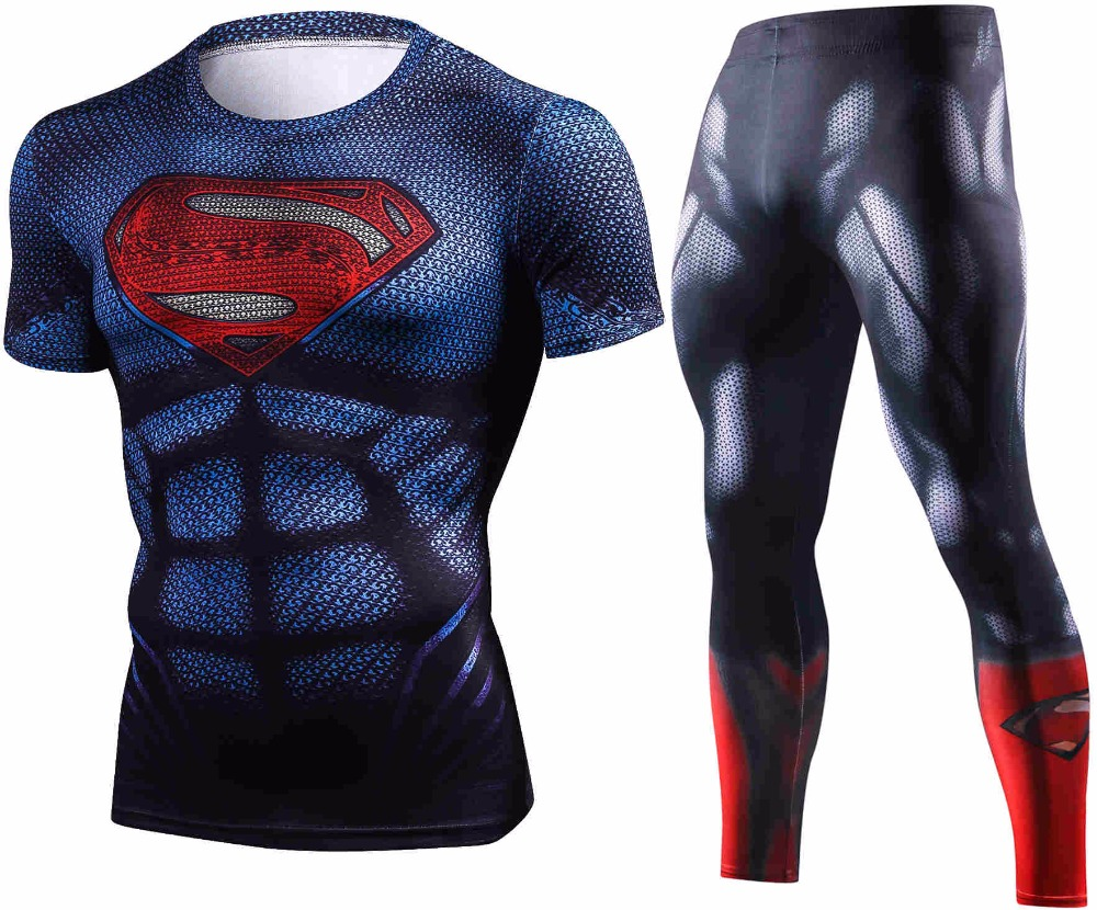 Summer New Marvel Superman Compression T Shirt Set Men Brand Tracksuit 3D Crossfit Fitness Clothing Men Sets Sportswear Suit Men