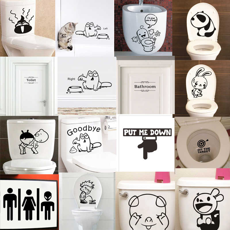 Funny Toilet Stickers Rabbit Panda Pig Put it down Bathroom For Home Decoration Waterproof Mural Art Diy Wall Decals