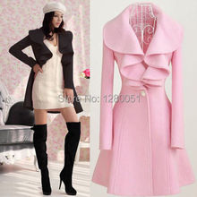 2014 Hot Sales Fashion Womens Slim WOOL Warm Long Coat Trench Windbreaker Outwear Free Shipping