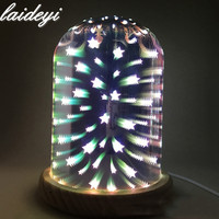 LAIDEYI 3D Glass Cover LED Night Light Bedside Bedroom Decoration Night Light Mood Light Star Sky