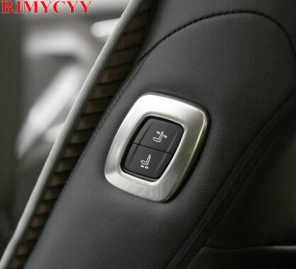 BJMYCYY 1PCS Automobile seat adjustment button stainless steel decoration frame for Toyota Camry 2018 accessories car styling for toyota highlander iii 2014 2016 automobile stainless rear bumper cover decoration car styling stickers accessories