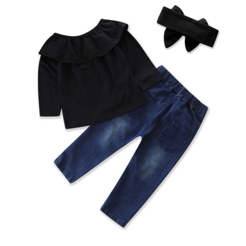 3pcs Toddler Baby Girls Kids Off-shoulder Tops Long Sleeve T-Shirt+Long Denim Pants Outfits 2-7Y off shoulder tops t shirts denim pants hole jeans 3pcs outfits set clothing fashion baby kids girls clothes sets